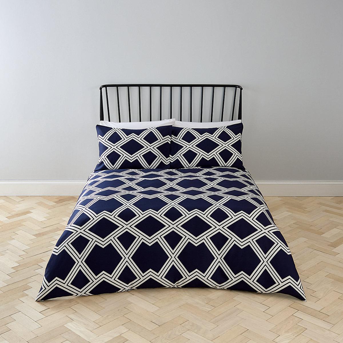 Navy geo print super king bed set