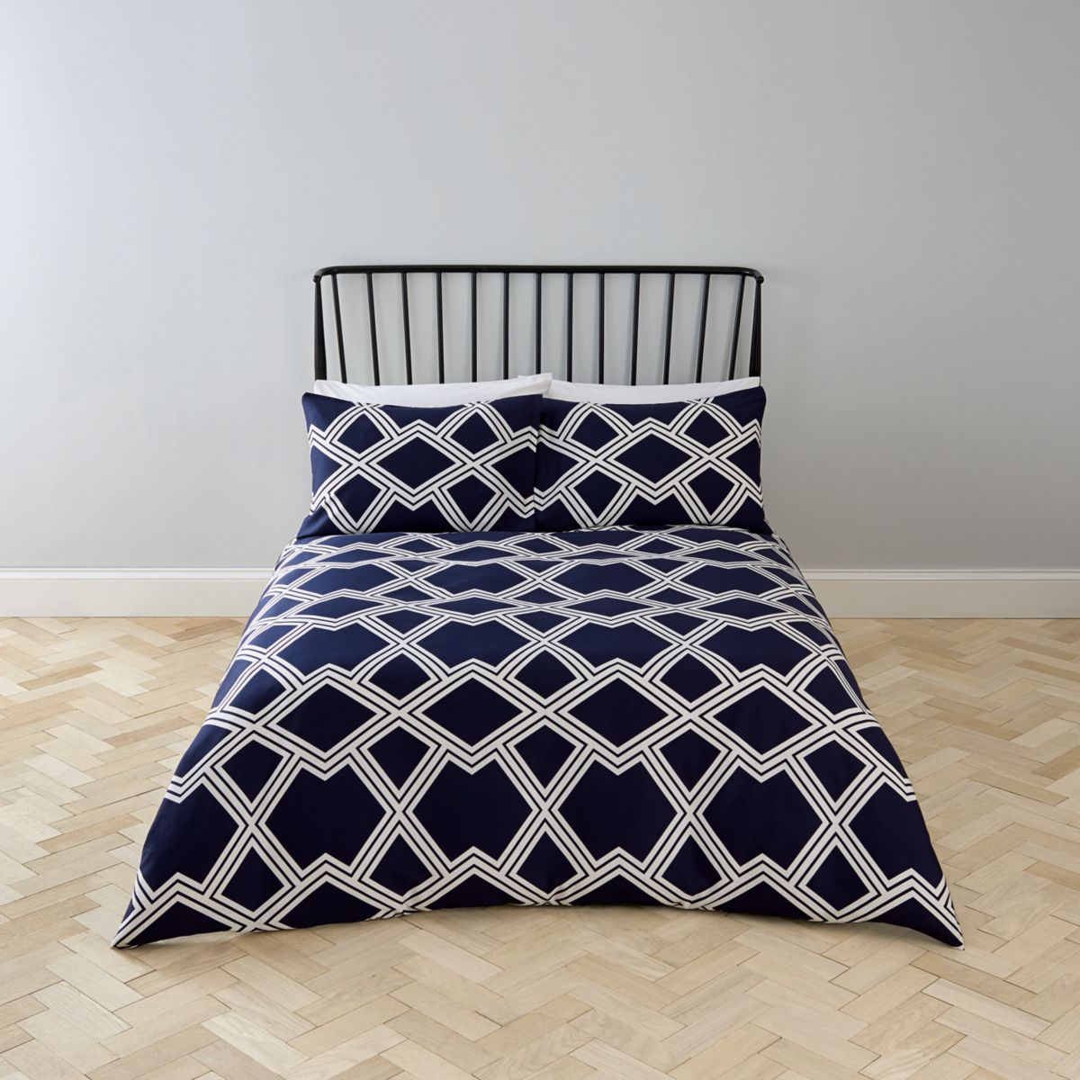 Navy geo print super king bed set