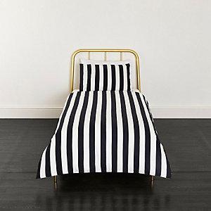 Black stripe print single duvet bed set