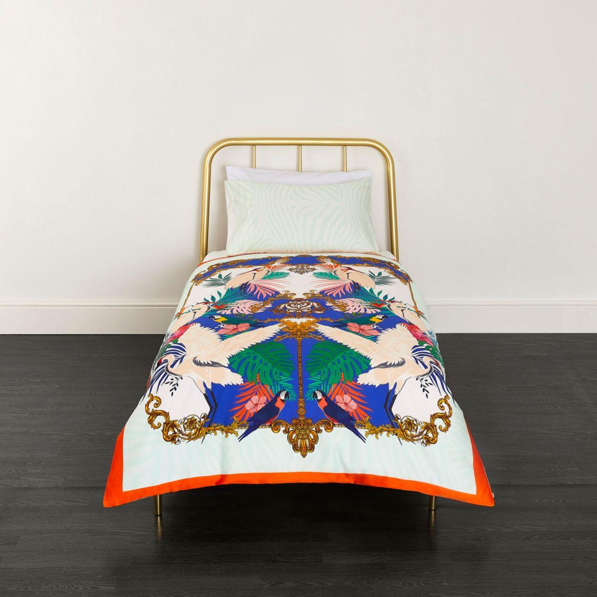 Pink Heron print single duvet bed set