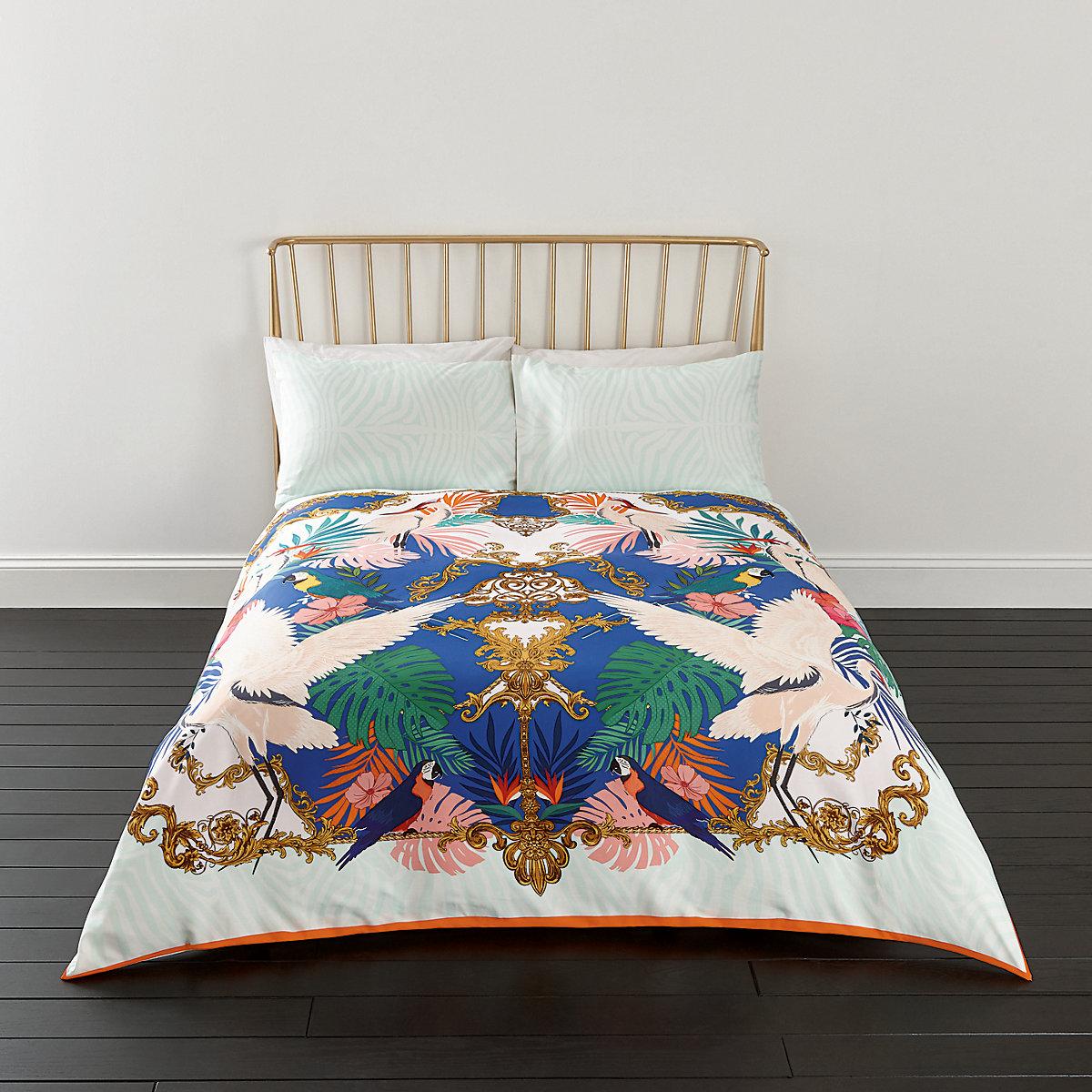 Pink Heron print king duvet bed set