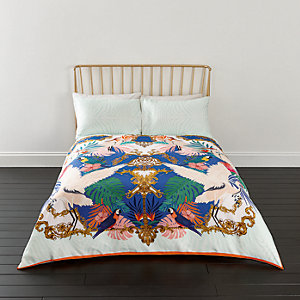 Pink Heron print super king duvet bed set