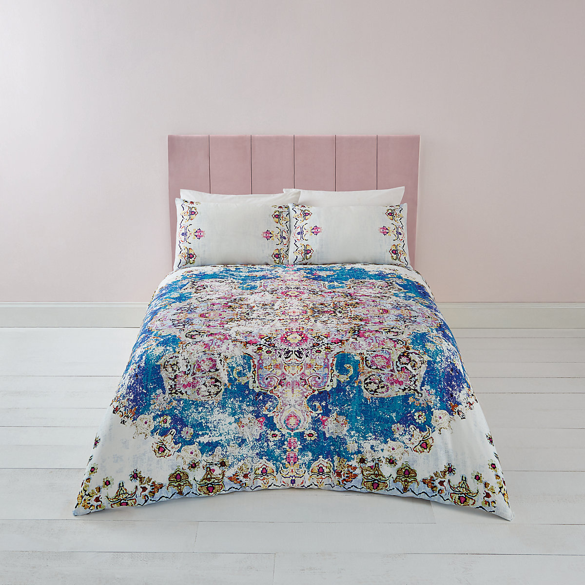 Blue Persian print double duvet bed set