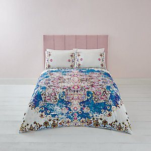 Blue Persian print king duvet bed set