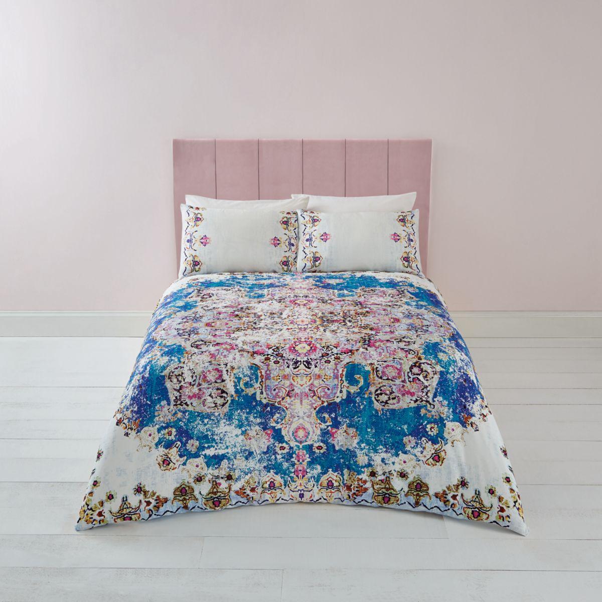 Blue Persian print king duvet bed set