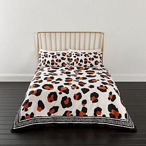 Parure de lit à imprimé léopard blanche pour lit super king size