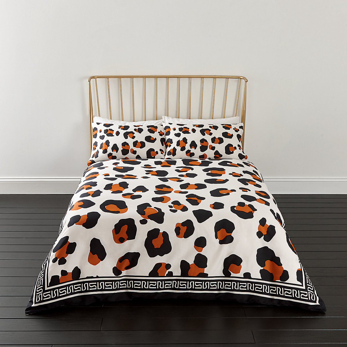 White leopard print super king duvet bed set