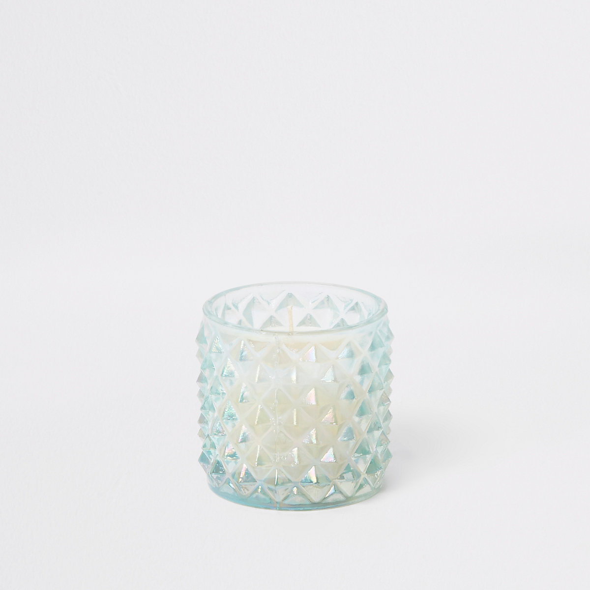 Turquoise iridescent spiked small candle