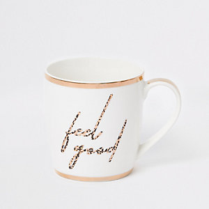 White 'Feel good' leopard print china mug