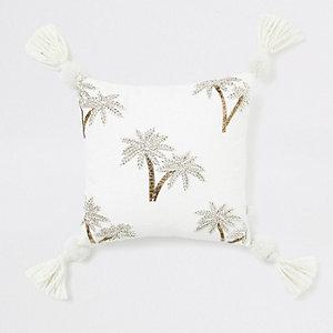 Kleines Kissen mit Palmenstickerei in Beige