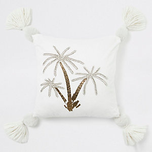 Large beige palm tree embroidered cushion