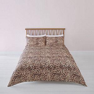 Parure de lit super king imprimé léopard marron