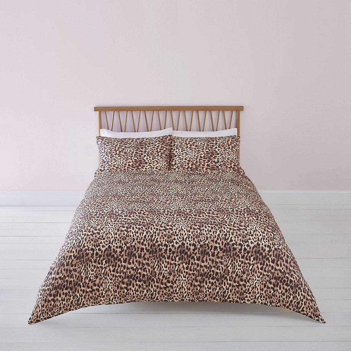 Brown leopard print super king duvet bed set