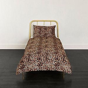 Braune Bettgarnitur mit Leoparden-Print, Einzelbett