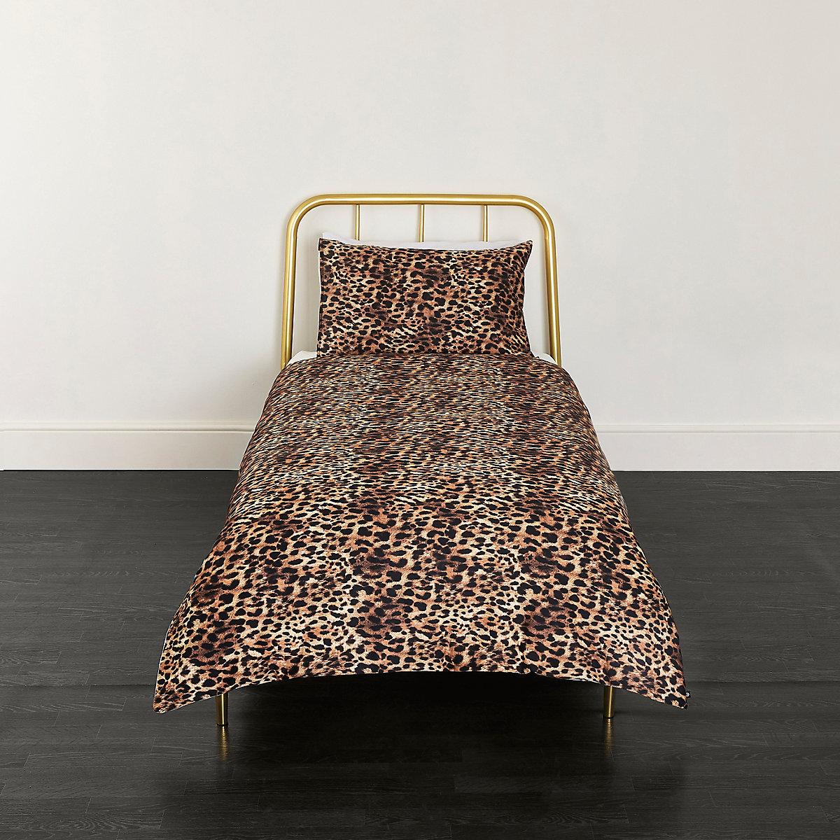 Brown leopard print single duvet bed set