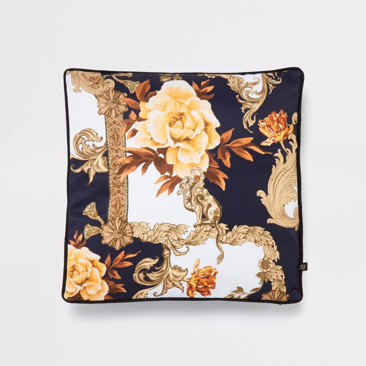Blue ornate print cushion cover