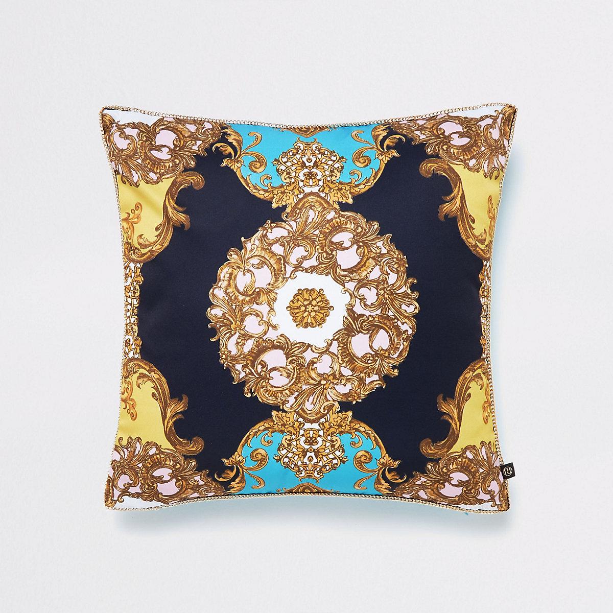 Turquoise ornate print cushion cover