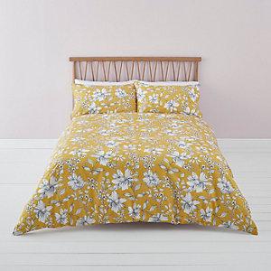 Gele superkingsize dekbedset met bloemenprint