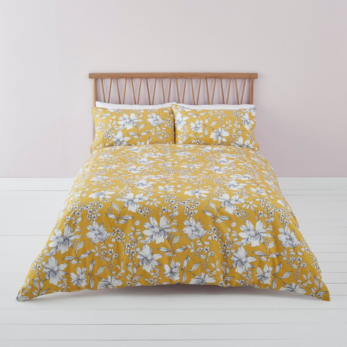 Yellow ditsy floral king duvet bed set
