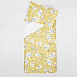 Parure de lit à imprimé petites fleurs jaune pour lit simple
