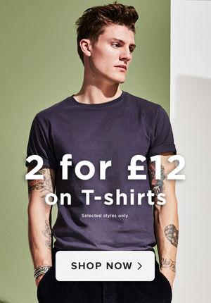 £12 les 2 t-shirts pour homme - Voir la sélection sur River Island