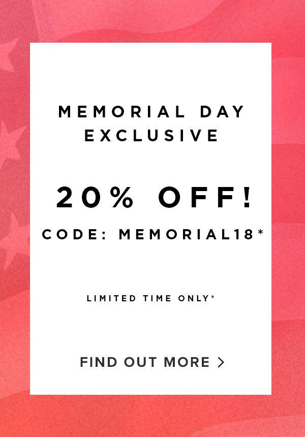 20% off memorial day